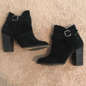 Black Chunk Heel Ankle Boots